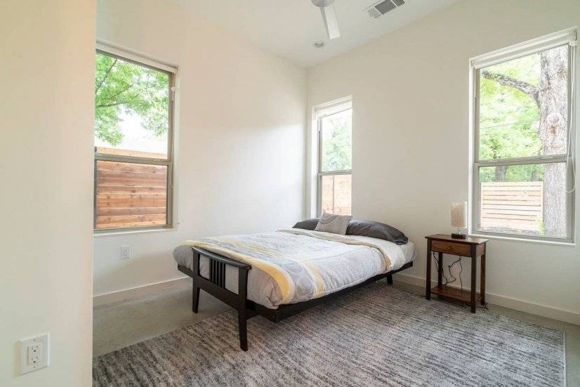 Downstairs bedroom with Queen size futon