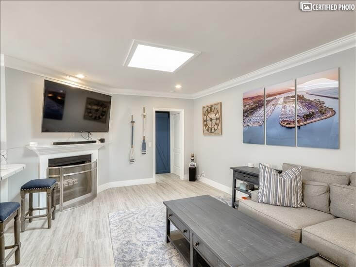 Family Room with Large Big Screen TV