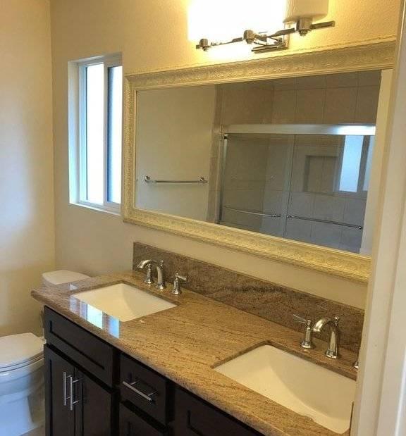 Master bathroom with dual vanities sink