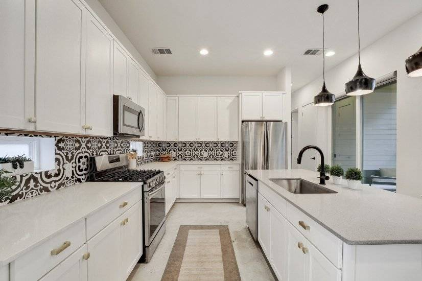 Storage and counter space are maximized in th