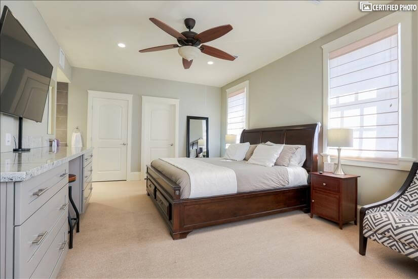 Guest Bedroom Mounted 55 inch Flat Screen TV