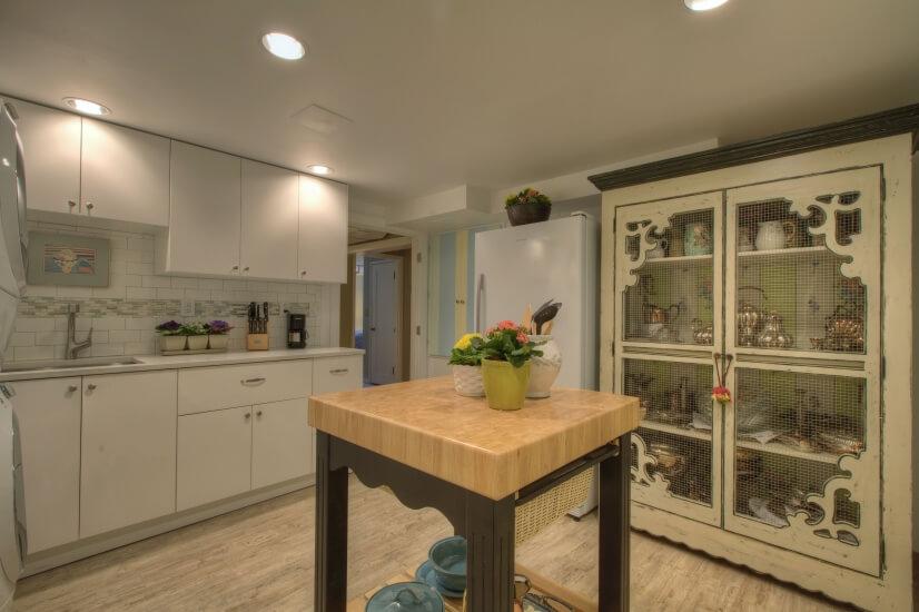 Kitchen with butcher block.