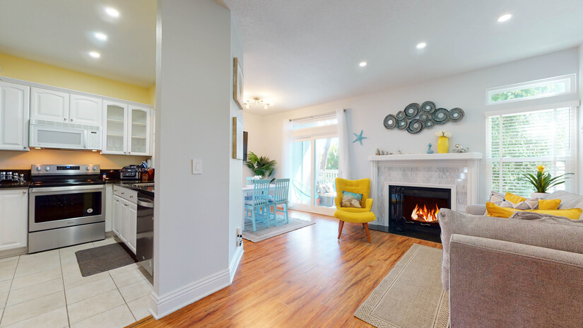 Wide shot of Living Room and Kitchen