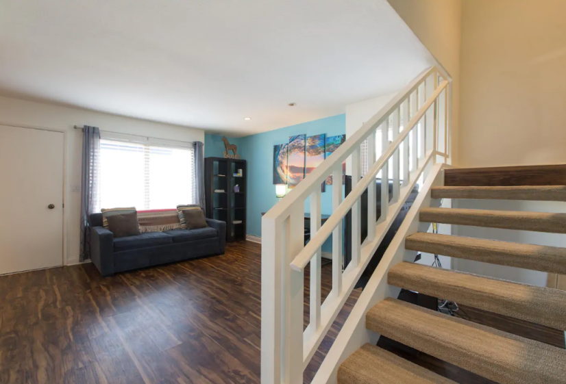 stairs with living room