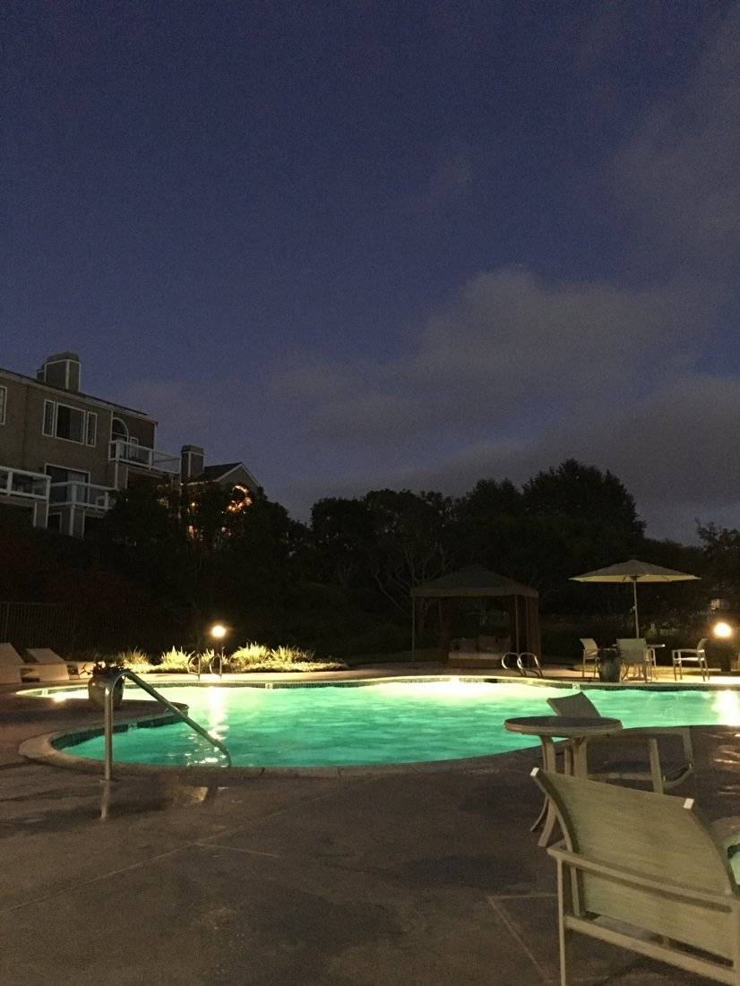 The pool is so beautiful at night as the moon rises & sets.