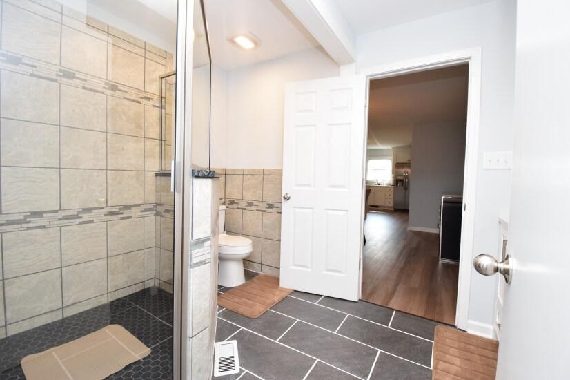 Master bathroom with nice walk in shower