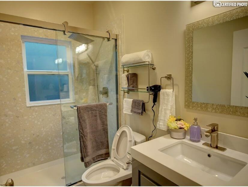 Suite D - Full size bathroom with new GOSHE shower system.