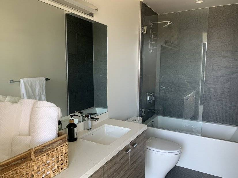 Rainfall shower heads and deep soaking tubs