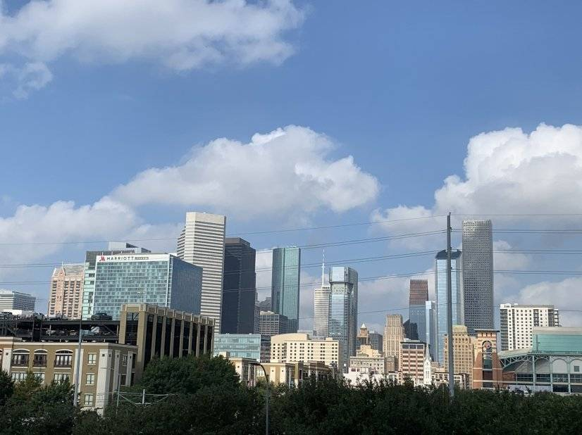 Expansive view of Houston downtown from the unit's balcony.