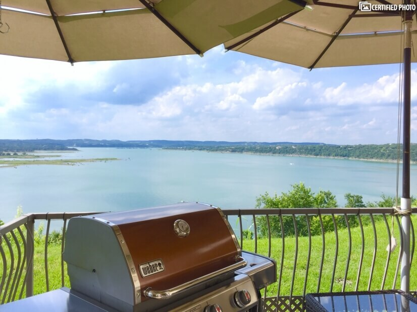 Weber Genesis outside patio with views to the