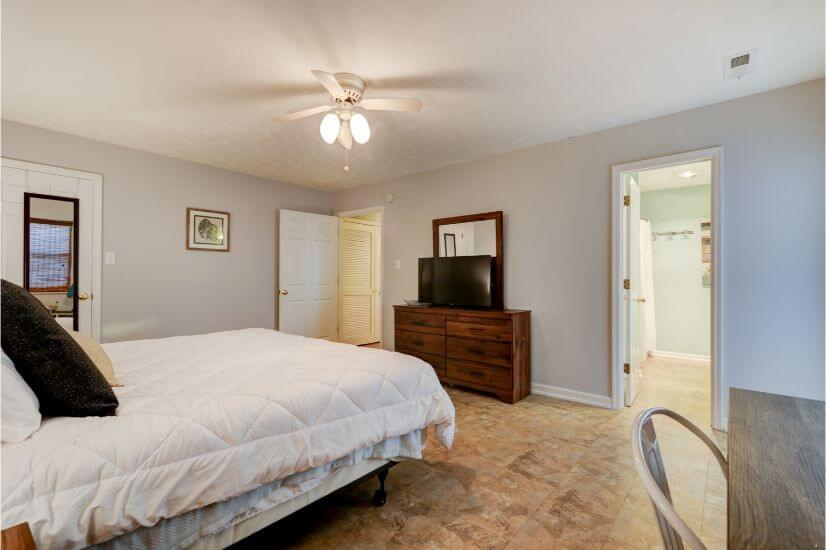 Master bedroom TV with Roku (workspace not sh