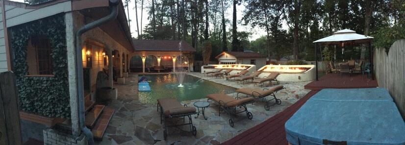 private backyard,pool,hot tub ,custom fire pits, cabana