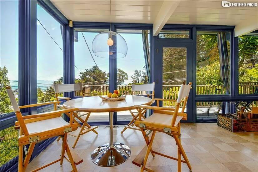 Furnished San Francisco rental has city, bay and park views.