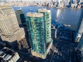 Aerial Glass Towers 1 block from NYC Ferry  & Goldman Sachs