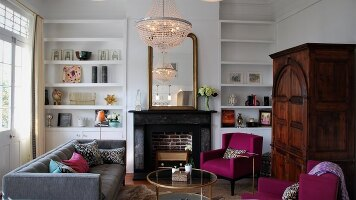 Large, Light Filled Living Room with New Orleans Charm