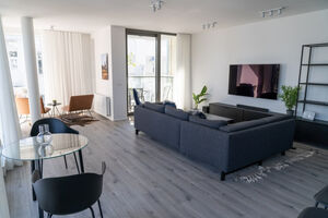 Great room with large flat screen television