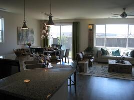 Great room, kitchen and dining room