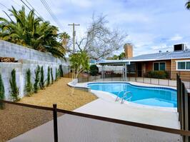 Backyard with pool fully fenced