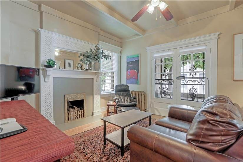 Living room showing gas log fireplace