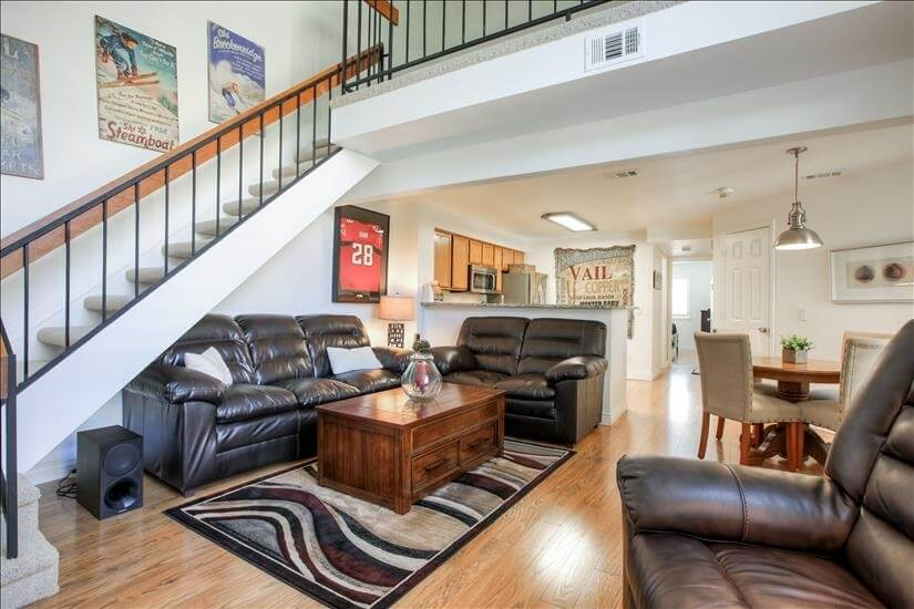 Luxury living room with kitchen granite countertops.