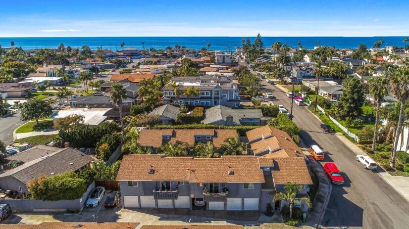Ariel view of property and ocean view