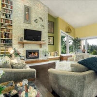 Great room with ceramic tile feature wall