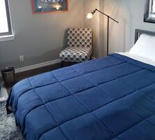 Queen size bed with new mattress.