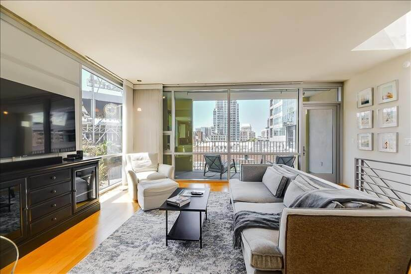 Living room with ballpark views