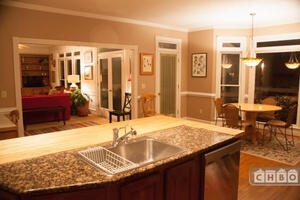 Kitchen with view of the Family Room