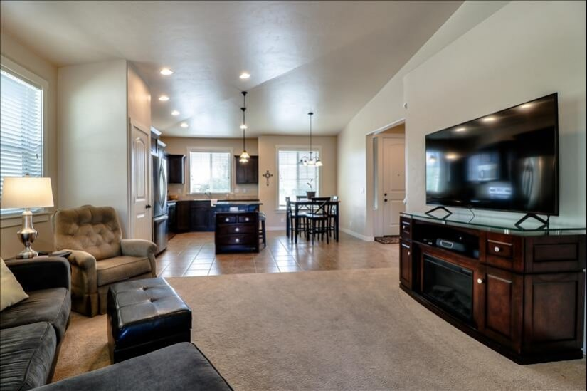 Relax in this living room after a hike in the